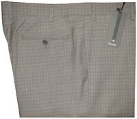 $345 NEW ZANELLA ITALY NORDSTROM DEVON TAN BROWN HOUNDSTOOTH PLAID 130 PANTS 33