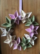 Origami Flower Wreath - Wall Hanging - Handmade - Wedding Party Gift Craft Paper