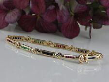 585 Gelbgold Armband mit Saphir, Smaragd, Rubin und Brillanten (insg. 60 Steine)