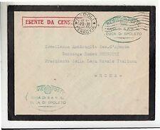 1942 busta timbro VERDE CASA SAR DUCA SPOLETO-cartella ROSSA ESENTE CENSURA-g650