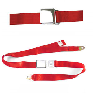 2 Point Lap Seat Belts w/ Airplane Lift Buckle - RED - Extra Thick Webbing