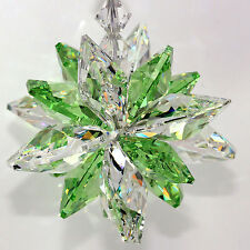 m/w Swarovski 16 Octagon Super Star Burst 18mm Clear w/ 14mm Peridot SunCatcher