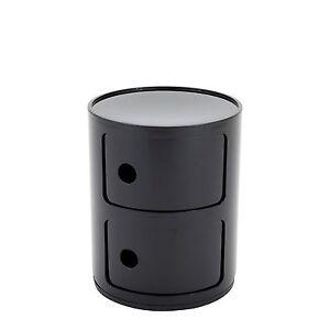 Kartell Componibili 4966 Anna Castelli Ferrieri 2 Compartments Black Container