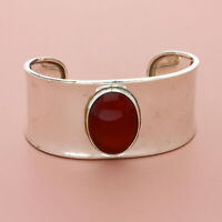 blushed sterling silver qvc wide carnelian cabochon cuff bracelet 6.5in