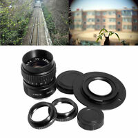 CCTV 25mm f/1.4 C Mount TV Movie Camera Lens+ Micro 4/3 M4/3 Adapter Black LF10