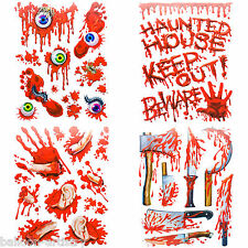 4x Halloween Horror Party Bloody Scene Stickers Glass Clings - GRUESOME GORE