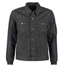 Levis Hybrid Denim Trucker Jacket Medium Black Thermore Quilted Snap Button $450