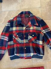 Vintage 60s Towncraft JcPenney Plaid Insulated Barn Coat Red Blue Jacket Mens L