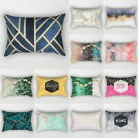 Rectangle Short Plush Pillow Cases Geometric Marble Cushion Cover Home Decor