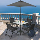 6 Piece Garden Furniture Patio Set Dining Table Parasol & 4 Folding Chair Seats