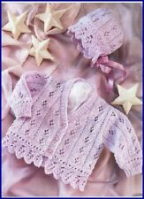 Baby Children Cardigan & Bonnet Eyelet & Scallop Border 8 Ply Knitting Pattern