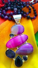 """BEAUTIFUL NATURAL AGATE NECKLACE WITH BIG AGATE/AMETHYST PENDANT. 20 1/2"""" LONG."""