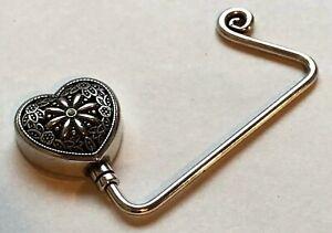 Brighton Silver Heart Shape Purse Handbag Hanger Weighted Table Hook Swarovski