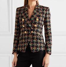 celebrity womens Tweed wool Leisure gold button Weave jacket coat parkas outwear