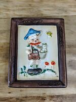 Vintage Napco style Ceramic Japan Wall Plaque signed Norton Boy Holding cat 4X5