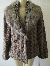 TERRY LEWIS BROWN FAUX FUR LONG SLEEVE COAT WITH FAUX FUR COLLAR SIZE L - NWT