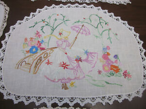 PRETTY CRINOLINE LADY WITH PARASOL IN GARDEN EMBROIDERED CENTREPIECE