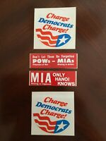 Lot of 4 vintage political decal sticker 1970s Charge Democrats Charge POW MIA
