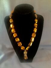 STUNNING TIGER EYE BEAD NECKLACE LARGE STERLING FLOWER CLASP