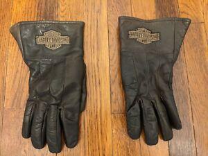 Harley Davidson Men's Full Leather Gauntlet Style Fleece Motorcycle Gloves - L