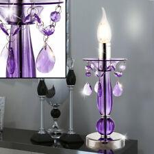 Lampe de chevet chromé violet chambre éclairage bougies en cristal stand neuf