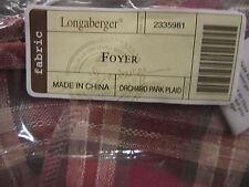 Longaberger Foyer Basket Orchard Park Plaid Liner New
