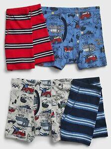 New Gap Kids Boys 4 Pack Boxer Briefs Underwear 7 8 10 12 14 yr Trucks Stripes