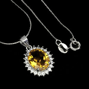 Unheated Oval Citrine 11x9mm Cz White Gold Plate 925 Sterling Silver Necklace 18