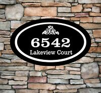 "Personalized Home Address Sign Aluminum 12"" x 7"" Custom House Number Plaque OV2"
