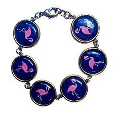 Rosa Intenso Pulsera Joyería Cameo Tropical Flamingo Kitsch peculiar Regalo