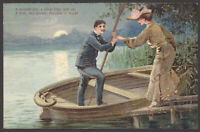"""Two Lovers Go A-Rowing Upon A Silver Lake"" 1906 Posted Raised Relief Postcard"