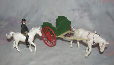 Vintage Lead/metal Britains Wagon Cart with Plastic Horse & Horse and Jockey