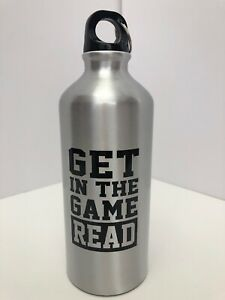 Get In The Game Read logo Aluminum Water Bottle 20oz Silver