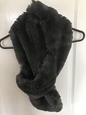 Helen Moore Smoky Grey Faux Fur Stole Wrap Scarf
