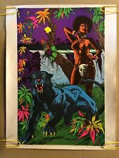 Original Vintage Blacklight Poster Woman & Panther 1970's Afro Psychedelic Pinup