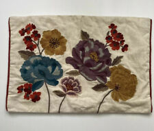 Pier 1 Pillow Cover Embroidered Flowers Floral Cotton Linen Blend