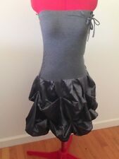 NWOT Tube Top Strapless Casual GRAY Ruched PICK-UPS Bubble MINI DRESS Size M