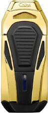 COLIBRI Zigarren Feuerzeug Boss III gold poliert 3er Jet + Abschneider 24 mm