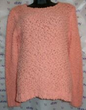 $59 Forever 21 peach small long sleeve crochet embroidered knit blouse top