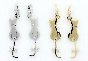 Orecchini Pendenti Donna Acciaio Strass Gatti Animali Colore Oro Argento Earring