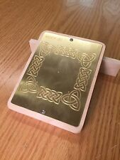 Brass Engraving Plate For New Hermes Font Tray Woven Frame Tribal 5 X 6 12 W