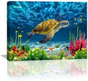 Bathroom Wall Decor Blue Ocean Sea Turtle Wall Art Poster Artwork