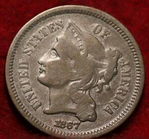 1867 Philadelphia Mint Nickel Three Cent Coin