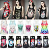 Womens Gothic Rock Punk Sleeveless Vest Tank Top Stretch Casual Tee Tops T-shirt
