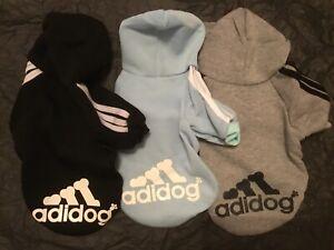 adidog hoodie, Size Small Dog L ! 9-10 inch-ish ! SKY BLUE