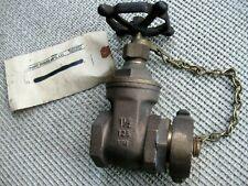 "Elkhart Brass 1-1/2"" 125 KIM Angle Fire Hose Valve w/Cap & Chain-Vtg NOS"