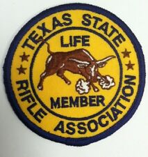 "Texas State Rifle Association Life Member Embroidered Patch 3"" size Tsra"