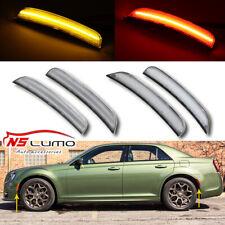 For 2015-2019 Chrysler 300 4 Pcs Front & Rear Clear Lens LED Side Marker Lights
