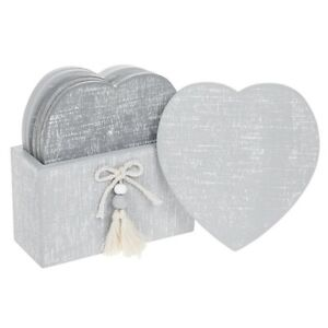 Set of 6 Provence Cool Grey Heart Wooden Coasters in Holder Shabby Chic Gift