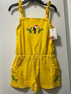 NWT Mini Boden Yellow Embroidered Romper Bird Toucan Girl 4-5